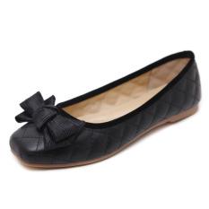Korea Fashion Style Manis Busur Angin Sepatu Berkepala Persegi Sepatu Wanita Hitam Tiongkok