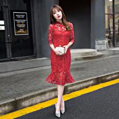 Korea Fashion Style Merah Mempelai Wanita Baru Gaun Pengantin Mermaid Gaun Baju Pelayanan (Lengan Sedang Merah Tua Gaun Pengantin Mermaid)