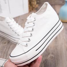 Promo Korea Fashion Style Merah Tua Sepatu Sol Tebal Sol Tebal Sepatu Putih Sepatu Kanvas Putih Sepatu Wanita Sepatu Sport Sepatu Sneakers Wanita Tiongkok
