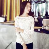 Harga Korea Fashion Style Musim Semi Wanita Putih Renda Atasan Kemeja Renda Putih Original