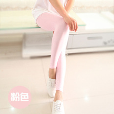 Korea Fashion Style Modal Lee Jeans Warna Permen Celana Ketat Keelastikan Bottoming Celana (Merah Muda)