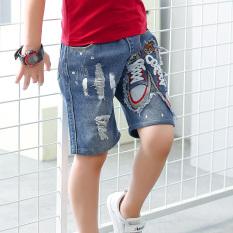 Spesifikasi Korea Fashion Style Model Musim Panas Baru Kecil Anak Laki Laki Celana Celana Celana Pendek Denim Sepatu Celana Pendek A865 Oem