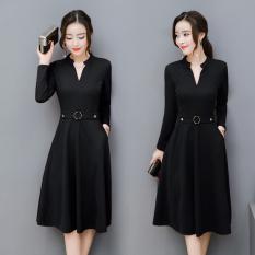Korea Fashion Style Model Musim Semi Dan Musim Gugur Baru Perempuan Gaun (Hitam) baju wanita dress wanita Gaun wanita