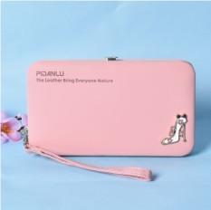 Korea Fashion Style Multifungsi Dompet Dompet Mahasiswa Tas Wanita Wallet Cahaya Merah Muda Diskon Tiongkok
