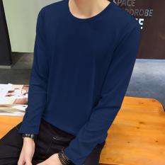 Jual Korea Fashion Style Musim Gugur Baru Slim T Shirt Leher Bulat Warna Solid Biru Tua Import