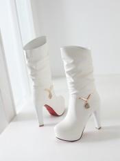 Korea Modis Gaya Musim Gugur atau Dingin Baru Sepatu Hak Super Tinggi Sepatu Wanita (Putih)