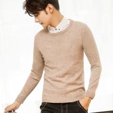 Korea Fashion Style Musim Gugur Dan Dingin Pria Warna Solid Leher Bulat Sweter (Bunga Unta