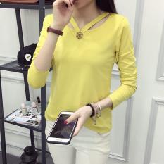 Beli Korea Fashion Style Musim Gugur Perempuan Produk Baru Slim Katun Atasan Lengan Panjang Bottoming Kemeja Kuning Mainan Kepingan Baju Wanita Baju Atasan Kemeja Wanita Pake Kartu Kredit