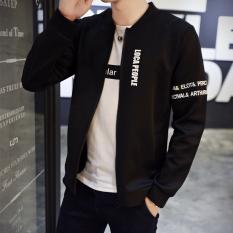 Review Tentang Korea Fashion Style Musim Gugur Slim Tampan Jaket Jaket Pria Jk11 Hitam