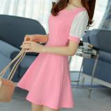 Spesifikasi Korea Fashion Style Musim Panas Kasa Lengan Slim Gaun Merah Muda