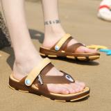 Beli Korea Fashion Style Musim Panas Model Crocs Sendal Sepatu Pria Sepatu Brown Kecil Satu Yard Nyicil