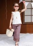 Miliki Segera Korea Fashion Style Musim Panas Musim Panas Anak Anak Kulot Off White Kemeja Ungu Park S Warna Lebar Kaki Celana