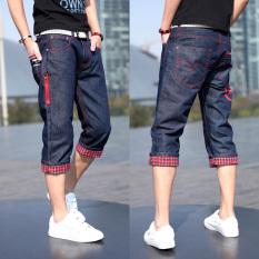 Korea Fashion Style Musim Panas Remaja Pria Celana Pendek Kasual Slim Koboi Celana (Biru Petir) celana pria Celana pendek pria Celana chino pria