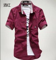 Kemeja Korea Fashion Style Putih Kemeja Warna Solid Pria (Lengan Pendek Mushroom Arak Anggur Kemeja)