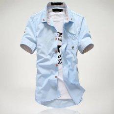 Kemeja Korea Fashion Style Putih Kemeja Warna Solid Pria (Lengan Pendek Mushroom Langit Biru Kemeja)