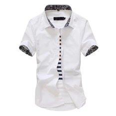 Kemeja Korea Fashion Style Putih Kemeja Warna Solid Pria (Putih Lengan Pendek Cuihua Kerah Kemeja)