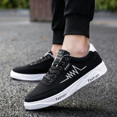 LIAN.DI Sepatu Kets Pria Kain Kanvas Pergelangan Kaki Rendah Trendi (6f-3 Hitam Dan Putih) (6f-3 Hitam Dan Putih)