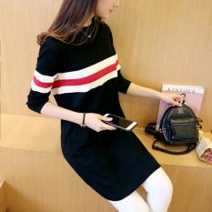Perbandingan Harga Korea Fashion Style Musim Semi Baru Leher Bulat Kemeja Rajut Sweter Hitam Dan Putih Di Tiongkok