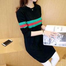 Toko Jual Korea Fashion Style Musim Semi Baru Leher Bulat Kemeja Rajut Sweter Hitam Ditambah Hijau