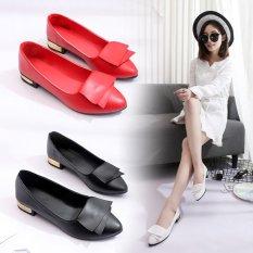 Toko Korea Fashion Style Musim Semi Baru Menunjuk Busur Sepatu Hitam Yang Bisa Kredit