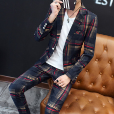 Review Toko Korea Fashion Style Musim Semi Dan Musim Gugur Laki Laki Slim Tampan Jas Merah