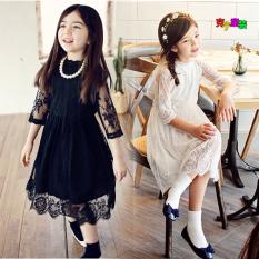 Beli Gaun Korea Fashion Style Musim Semi Dan Musim Panas Gadis Renda Rok Lengan Renda Rok Hitam Cicil