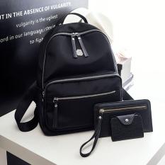 Korea Fashion Style Oxford kain perempuan tas sekolah tas ransel (Hitam tiga potong)