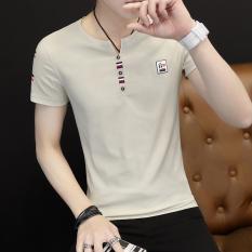 Korea Fashion Style Pada V-neck Lengan Pendek Baju Dalaman Musim Panas Lengan Pendek T-shirt (Coklat Muda Warna)