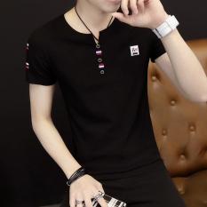 Korea Fashion Style Pada V-neck Lengan Pendek Baju Dalaman Musim Panas Lengan Pendek T-shirt (Hitam) baju atasan kaos pria kemeja pria