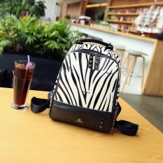Korea Fashion Style Paku Keling Perempuan Baru Tas Tas Ransel (Zebra Pola Terompet)