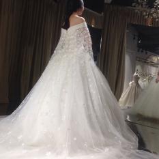 Gaun Pengantin Ekor Panjang Model Sabrina Membentuk Tubuh Versi Korea (Berekor Panjang Model) (Berekor Panjang Model)