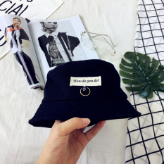 Situs Review Korea Fashion Style Patch Surat Topi Ember Hitam