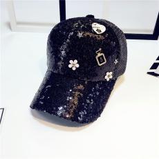 Topi musim semi perempuan Musim panas paillette topi bisbol model baru pasang Gaya Korea bertatah berlian