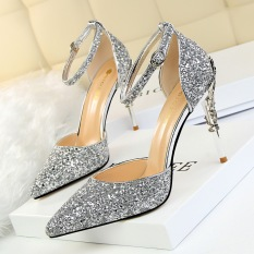 Dapatkan Segera Korea Fashion Style Perak Hak Tipis Perhiasan Yang Berkelip Kelip Sandal Summer Sepatu Pernikahan Perak Sepatu Wanita High Heels Sepatu Wanita Wedges