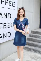 Beli Wanita Di Bagian Panjang Slim Terlihat Langsing Koboi Rok Gaun Biru Tua Yang Bagus