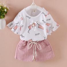Set Korea Fashion Style Anak-anak Perempuan Baru (Musim Panas Cola Jaket Lengan Pendek [Bedak])