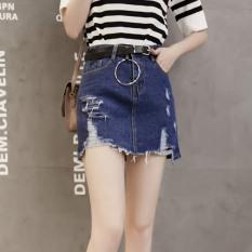 Toko Korea Fashion Style Perempuan Baru Siswa Rok Celana Rok Jeans Biru Tua Warna Tiongkok