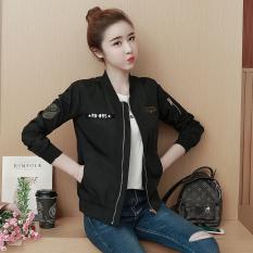Korea Fashion Style Perempuan Baru Yard Besar Jaket Bomber Bisbol Jas (Hitam) baju wanita jaket wanita