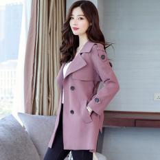 Harga Korea Fashion Style Bagian Panjang Wanita Musim Semi Dan Musim Gugur Single Breasted Jaket Angin Ungu Baru