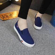 Korea Modis Gaya Perempuan Datar With Kets Putih Sepatu Wanita (8688 Biru)
