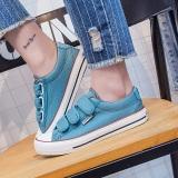 Toko Korea Fashion Style Perempuan Datar Kasual Sepatu Sepatu Velcro Kanvas Sepatu Model Wanita Light Blue Termurah Tiongkok