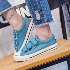 Harga Korea Fashion Style Perempuan Datar Kasual Sepatu Sepatu Velcro Kanvas Sepatu Model Wanita Light Blue Online Tiongkok
