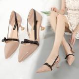 Spesifikasi Korea Fashion Style Perempuan Hak Tipis Baru Sepatu Sepatu Heels Merah Muda Warna Online