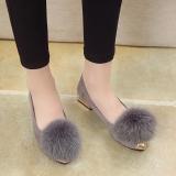 Toko Korea Fashion Style Perempuan Musim Gugur Pakaian Luar Sepatu Bulu Sepatu Abu Abu Tambah Beludru Dekat Sini