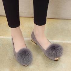 Jual Korea Fashion Style Perempuan Musim Gugur Pakaian Luar Sepatu Bulu Sepatu Abu Abu Tambah Beludru