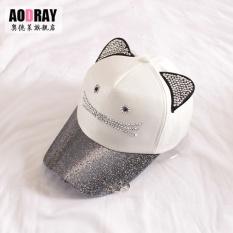 Korea Fashion Style Perempuan Musim Panas Lucu Topi Baseball Topi (Cincin kucing putih)