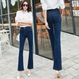 Jual Korea Fashion Style Perempuan Musim Semi Dan Musim Gugur Pinggang Tinggi Sembilan Poin Celana Jeans Biru Original