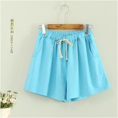 Korea Modis Gaya Perempuan Remaja Anak Celana Panas Santai Semua-Cocok Celana Pendek (Langit Biru Besar Celana Pendek)