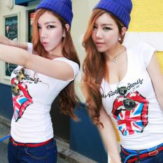Spesifikasi Korea Fashion Style Perempuan Slim Legging Atasan Pakaian Wanita Lengan Pendek T Shirt Putih Baju Wanita Baju Atasan Kemeja Wanita Merk Oem