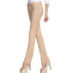 Korea Modis Gaya Perempuan Ramping Terlihat Langsing Celana Panjang Jeans (Coklat Muda Warna)